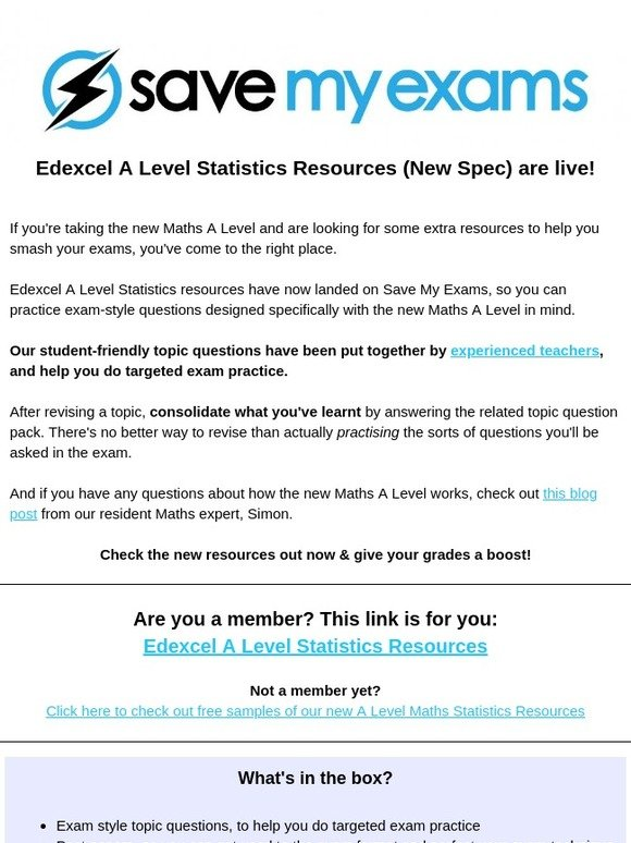 Save My Exams: Edexcel A Level Statistics resources have