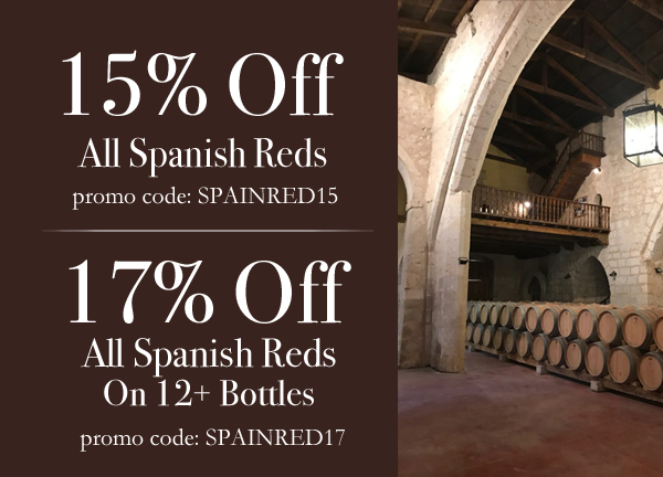 15% Off all Spanish red wine, 17% Off all Spanish red wine 12+ bottles