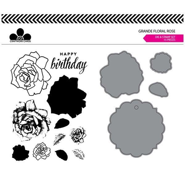 Image of Craftwork Cards Die & Stamp Set Rose Grande Floral   Set of 15