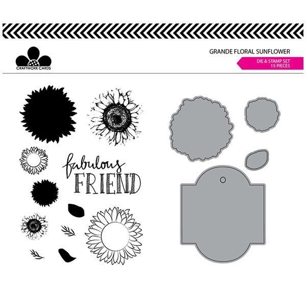 Image of Craftwork Cards Die & Stamp Set Sunflower Grande Floral   Set of 15