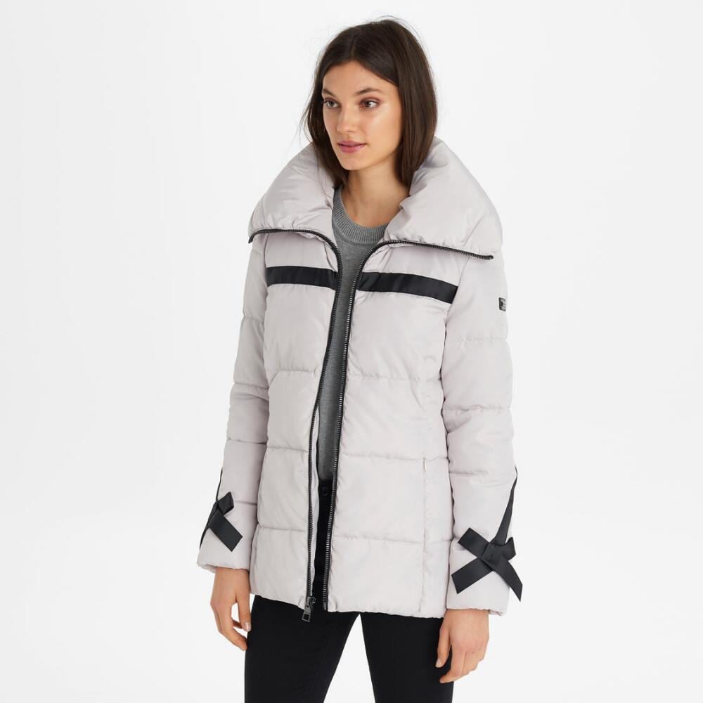 RIBBON TRIMMED PUFFER JACKET