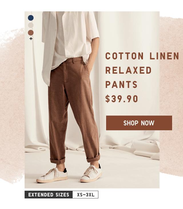 COTTON LINEN RELAXED PANTS $39.90 - SHOP NOW