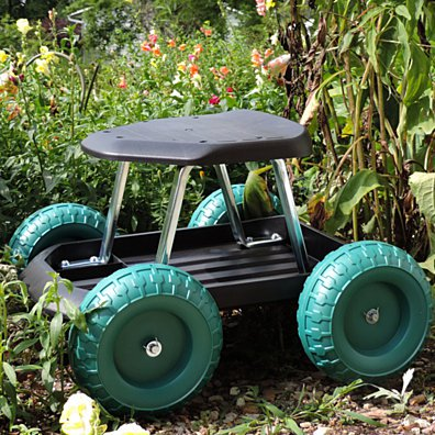Rolling Garden Work Scooter with Tool Tray for Yard Work Gardening Ease on Wheels
