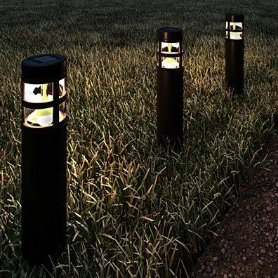 Solar Path Bollard Lights Set of 8 Outdoor Stake Lighting for Garden, Landscape, Yard, Patio, Deck, Driveway, Walkway (Black)