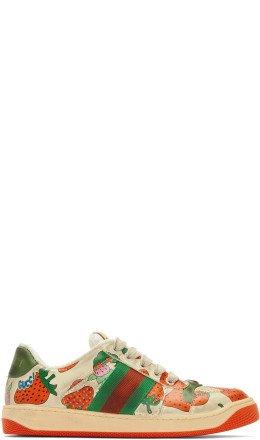 Gucci - Off-White Strawberry Screener Sneakers