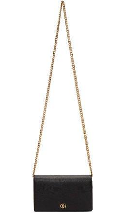 Gucci - Black Petite GG Marmont Chain Bag