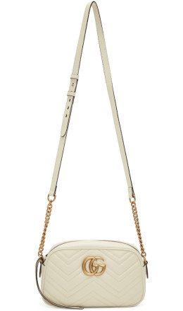 Gucci - White Small GG Marmont Camera Bag