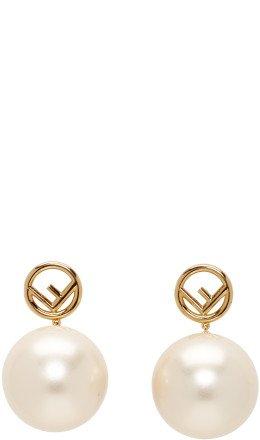 Fendi - Gold Pearl 'F is Fendi' Earrings