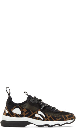 Fendi - Brown & Black 'Forever Fendi' Mesh Sneakers