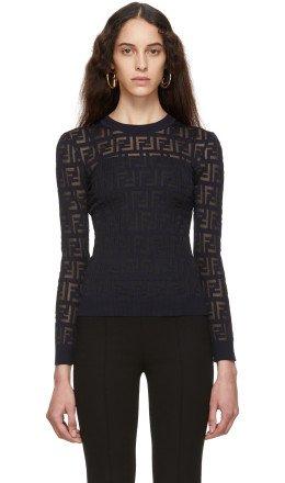Fendi - Navy 'Forever Fendi' Sweater