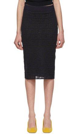 Fendi - Navy Knit 'Forever Fendi' Pencil Skirt