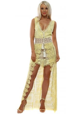 Yellow Lace Maxi Dress With Shorts