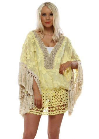 Yellow Flowers Gold Tassel Kaftan
