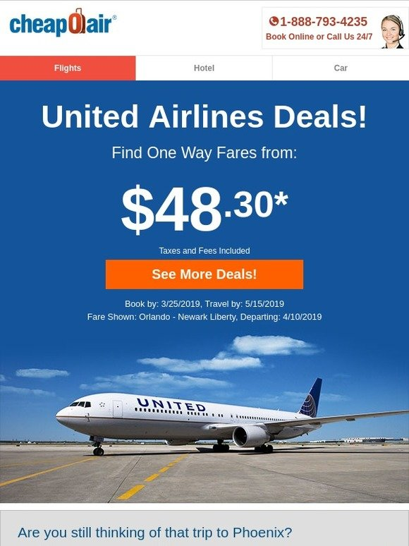 CheapOair: ✈ United Airlines Deals! Fly from $48 30 | Milled