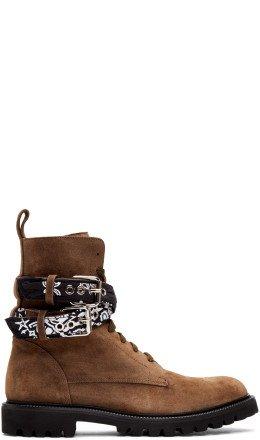 Amiri - Brown Suede Bandana Combat Boots