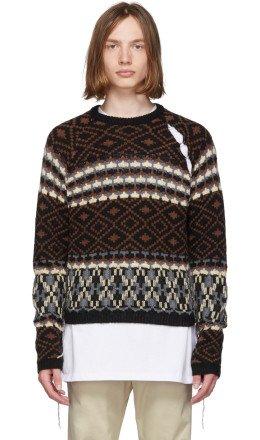 Raf Simons - Black & Brown Jacquard Sleeve Sweater