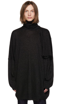 Raf Simons - Black Lurex Multi Collar Turtleneck
