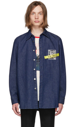 Raf Simons - Navy Denim Patch Tape Shirt