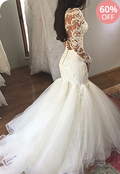 88adcd5bc73 Attractive Tulle   Organza Sheer Scoop Neckline Mermaid Wedding Dress With Lace  Appliques   BeadingsUS  248.40US  620.99