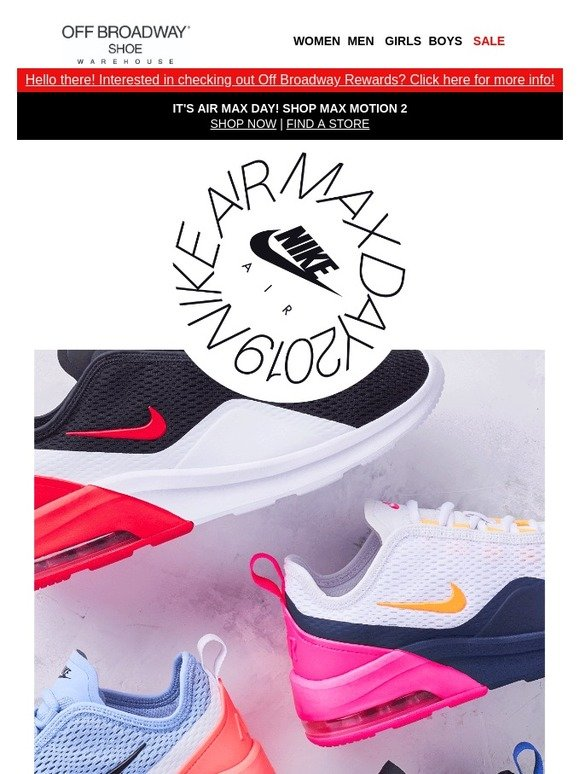 adf7dbb9084d Off Broadway Shoes  Nike Air Max Day is TODAY