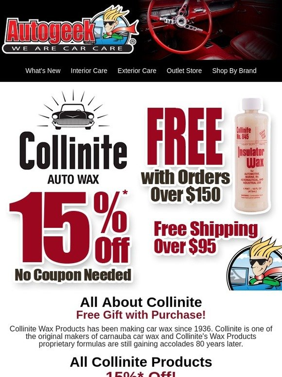 autogeek: All About Collinite | Free Gift with Purchase