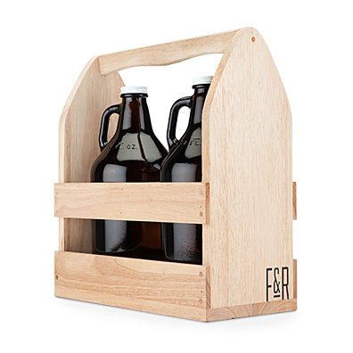Rubber Wood Growler Caddy by Foster and Rye