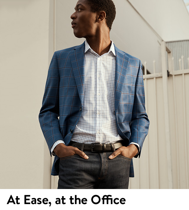 At ease, at the office: men's business casual clothing.