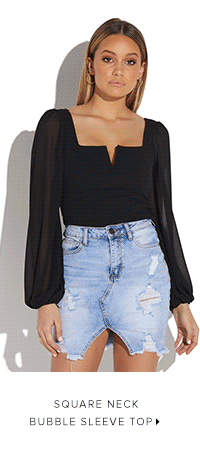 SQUARE NECK BUBBLE SLEEVE TOP