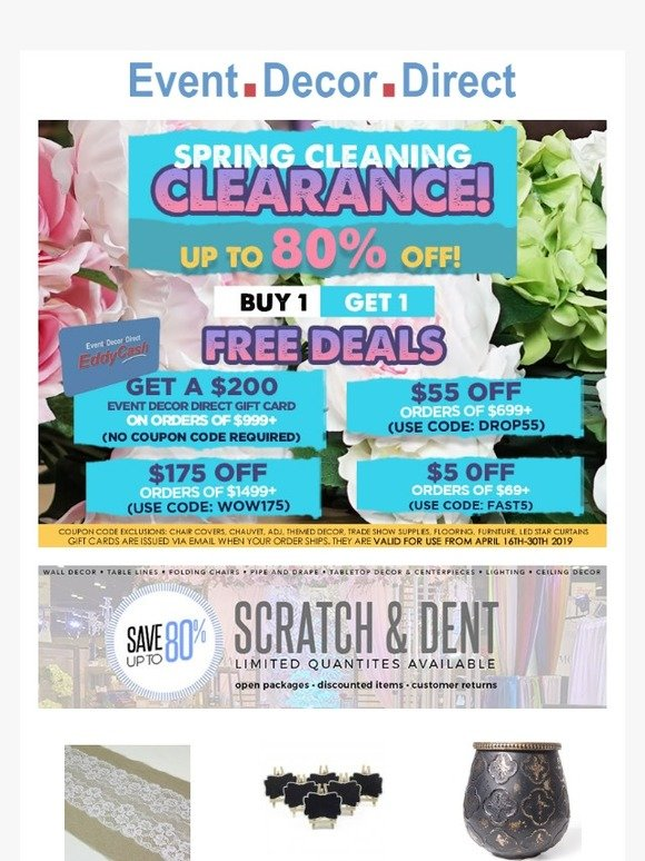 Event Decor Direct Get A Free 200 Gift Card Before Our Spring