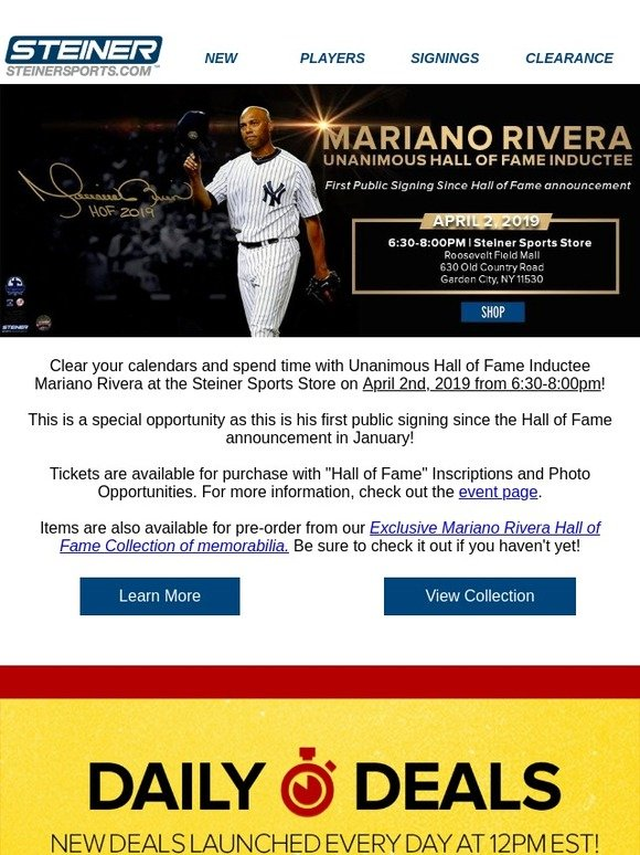 3e3d63b4d17 Steiner Sports: ANNOUNCEMENT: Mariano Rivera Public Signing | Milled