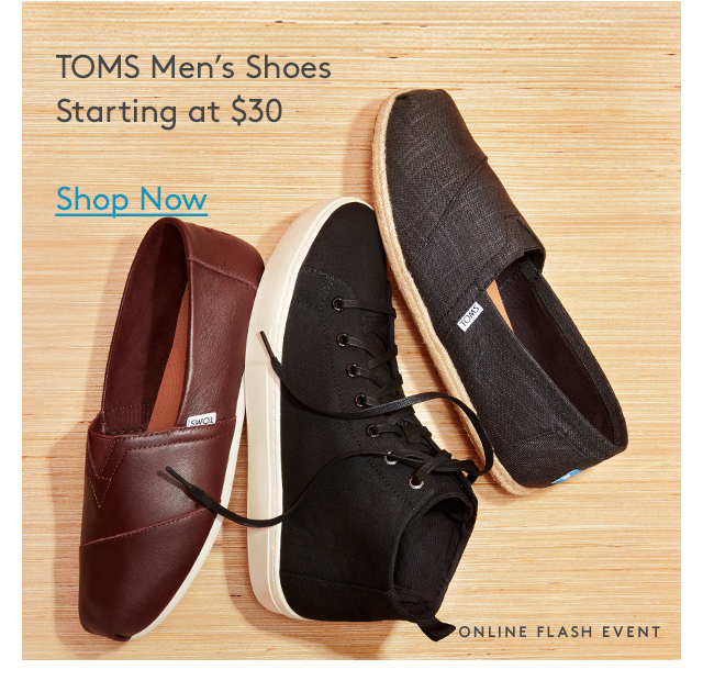 TOMS Men's Shoes | Starting at $30 | Shop Now | Online Flash Event