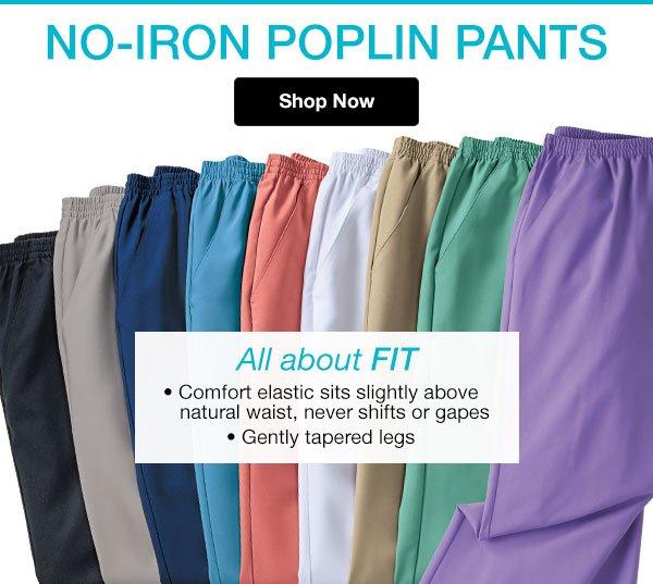 Shop Women's No-Iron Poplin Pants!