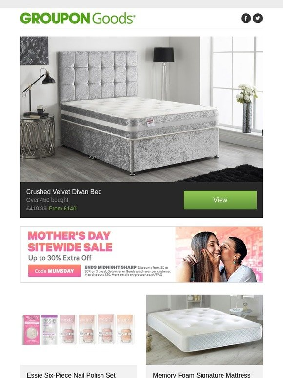 on sale 1e8d8 ce536 Groupon UK: Crushed Velvet Divan Bed, Essie Six-Piece Nail ...