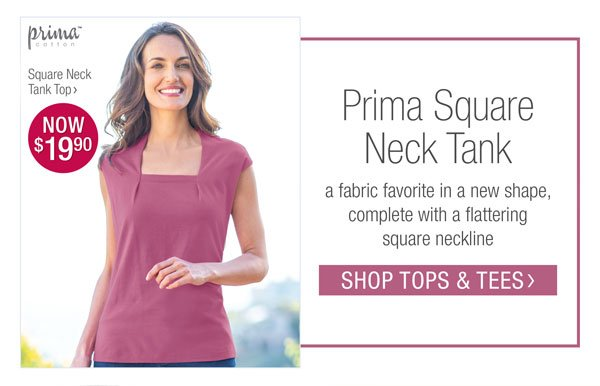 PRIMA SQUARE NECK TANK. SHOP TOPS & TEES