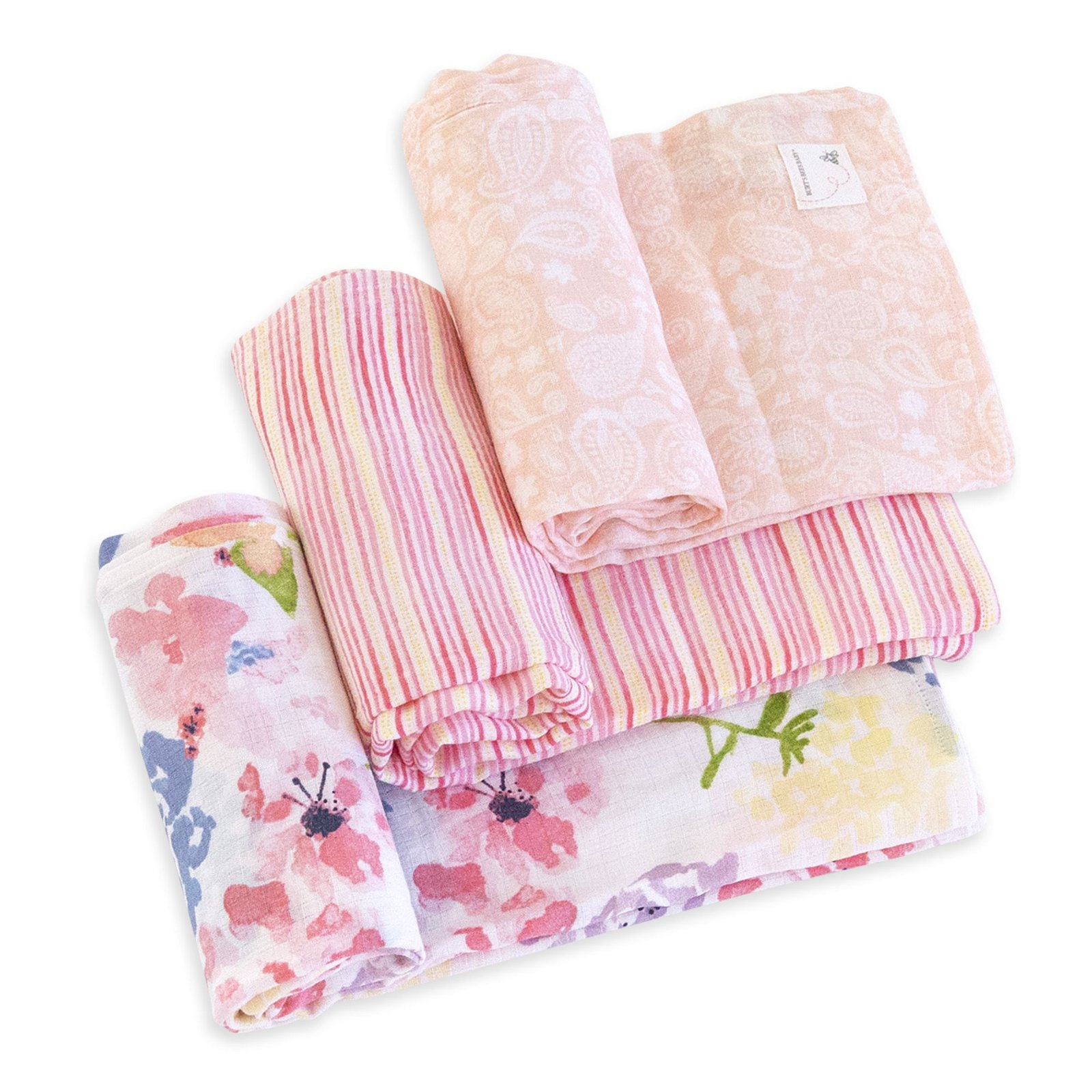Spring Bouquet Watercolor Organic Muslin Swaddle Blankets 3 Pack