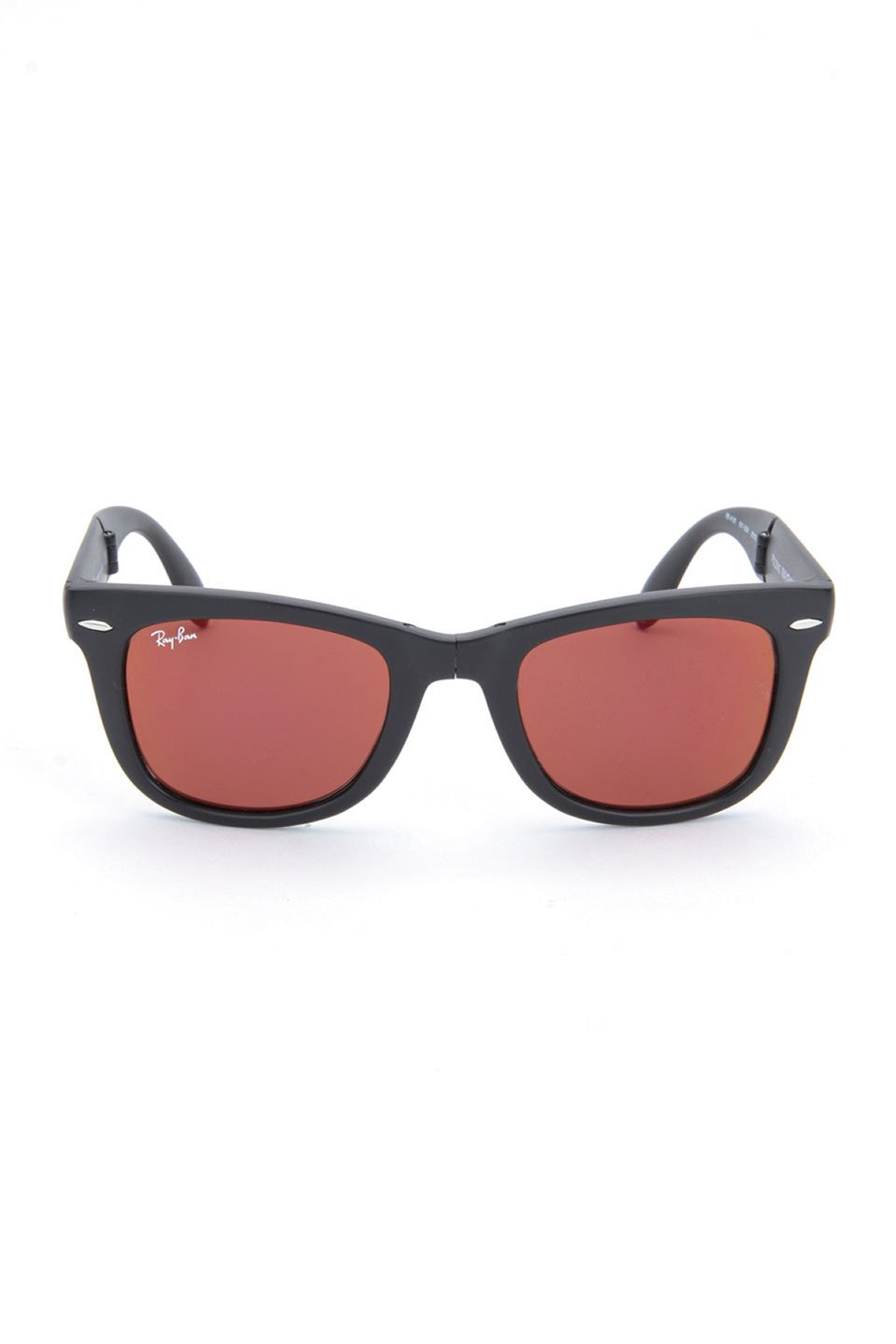 Folding Wayfarer Men's Sunglasses in Black/Red Mirror