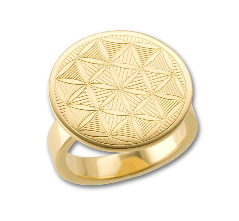 Flower of Life Sacred Geometry Ring -  18K Gold Plated