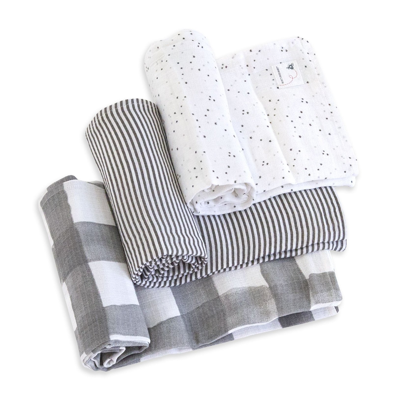 Starry Eyes Watercolor Organic Muslin Swaddle Blankets 3 Pack