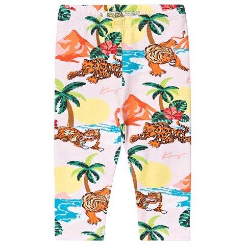 Kenzo Kids Pale Pink Hawaii Tiger Leggings