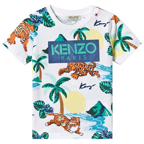 Kenzo Kids White Hawaii Tiger Print T-Shirt