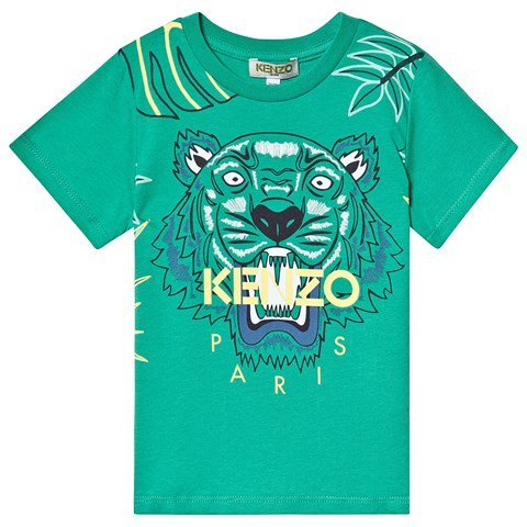 Kenzo Kids Green Jungle Tiger Embroidered T-Shirt