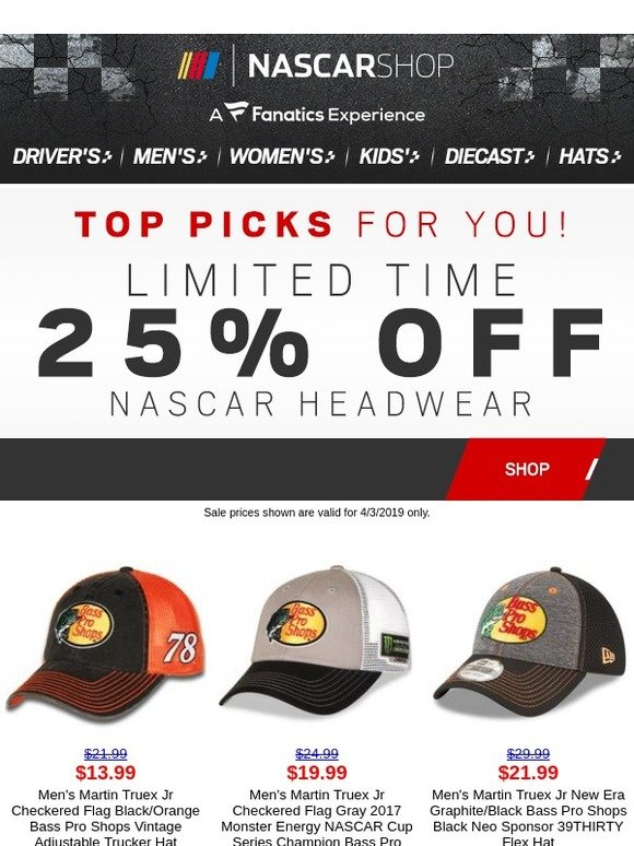 d3c2f426d2e1b NASCAR Online Superstore  NASCAR Headwear Sale is HERE! Take 25% Off ...