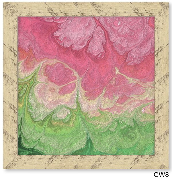 Colorful sand art framed in rustic buttermilk Chalkwoods frame CW8.