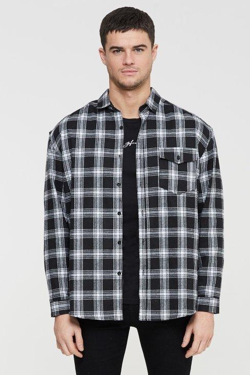 Oversized Black Check Shirt