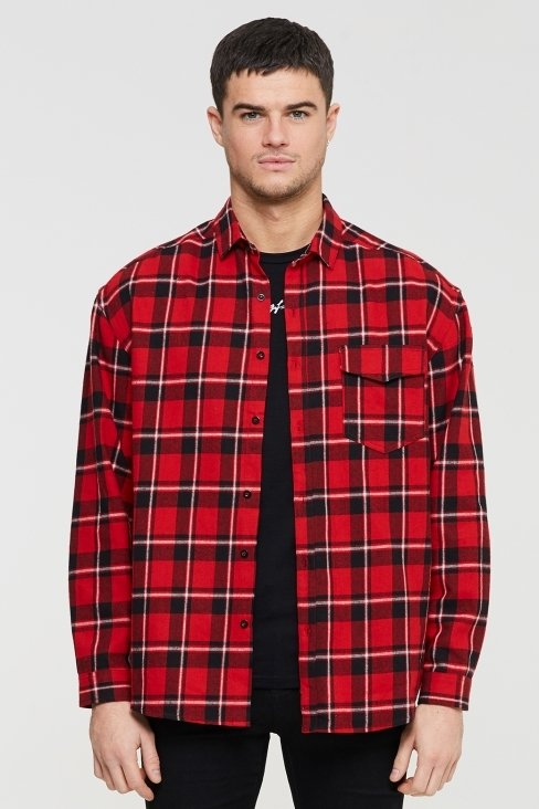 Oversized Red Check Shirt