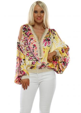 Yellow Floral Cold Shoulder Flouncy Sleeve Top