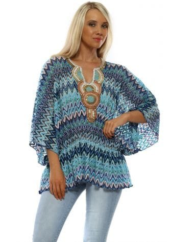 Blue Zig Zag Beaded Kaftan Top