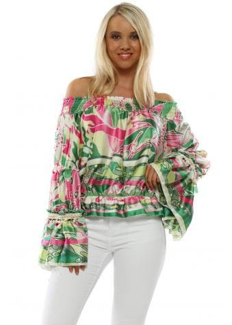 Green & Pink Print Bardot Top