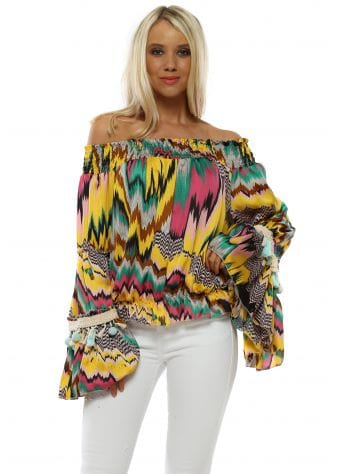 Pink & Yellow Zig Zag Bardot Top