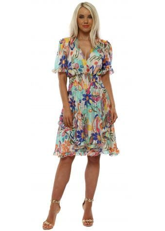 Aqua Multi Floral Fit & Flare Dress
